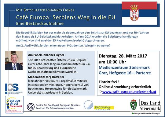 """einladung zum café europa """"serbiens weg in die eu"""" am 28.3.2017, Einladung"""